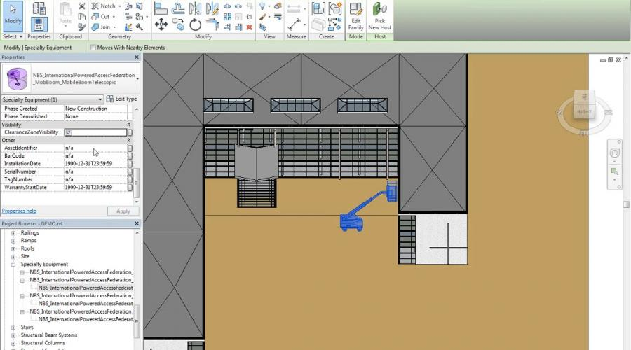 MEWPs available in global BIM library