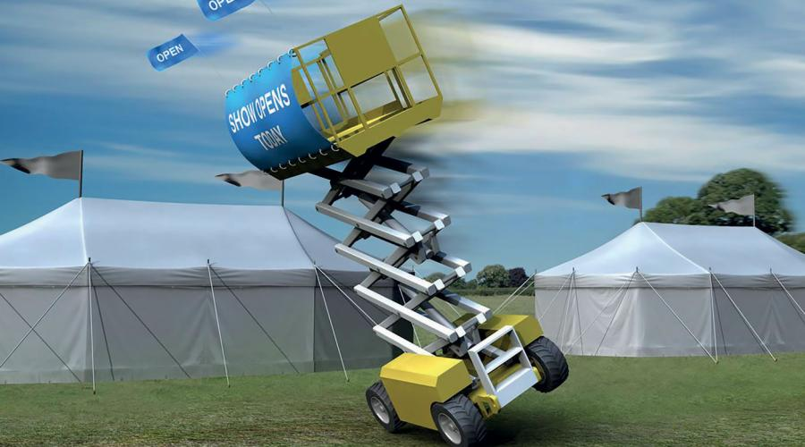Scissor lift MEWP with banner overturning