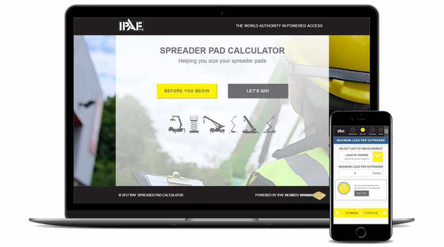 IPAF Spreader Pad Calculator on Laptop and Mobile Devices