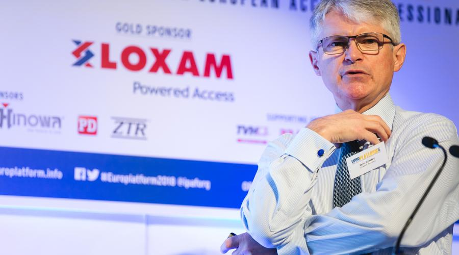 Don Kenny, Loxam Powered Access, speaking at Europlatform 2018