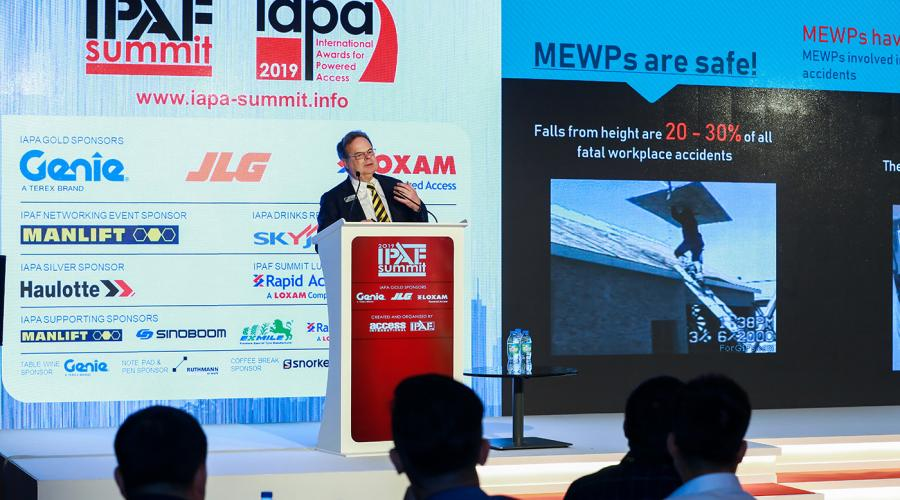 Tim Whiteman speaking at the IPAF Summit in Dubai, 2019