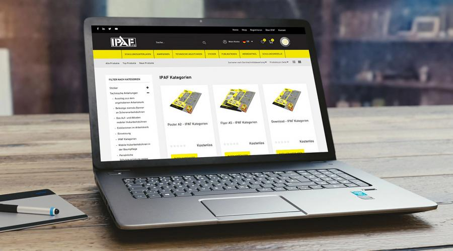 IPAF pilots online shop for safety and promotional materials